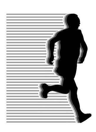 pentathlon: black runner silhouettes on white backgound