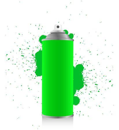 Green spray tin on white background photo