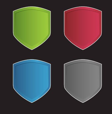 Color shields with racing sign on the black background Stock Photo