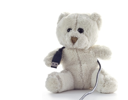 cabel: White Teddy bear on neutral background with usb cabel