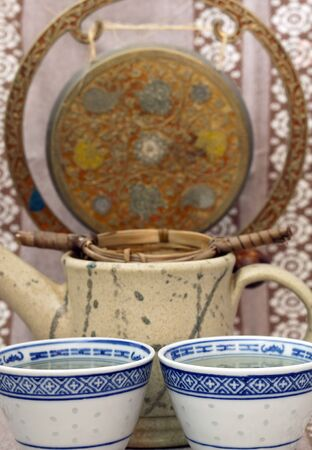 Green tea with cup and teapot Stock Photo - 13456606