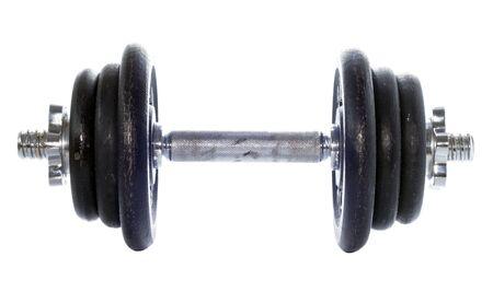 dumbell: black dumbell isolated on white Stock Photo
