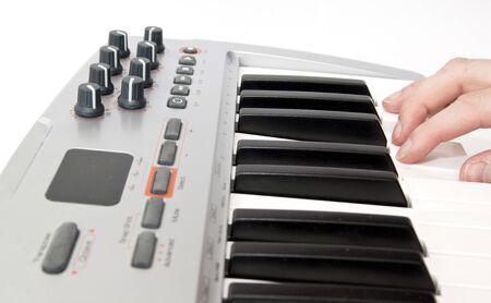 Midi keyboard close up, Piano roll Stock Photo - 13456499