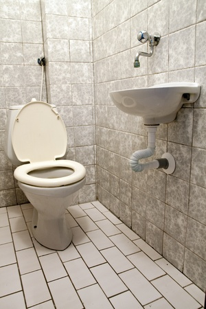Toilet in home white color Stock Photo