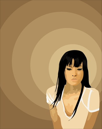 Beautiful Asiatic girl Illustration  on brown background illustration