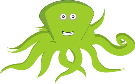 Green octopus on white background Stock Photo - 13456731