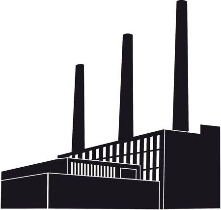 Black Factory with orange round photo