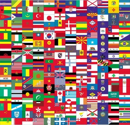 allen: Grote vlag met kleine vlaggen Stockfoto