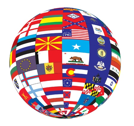 Flags of the world as a globe  photo