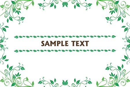 Floral frame on white background photo