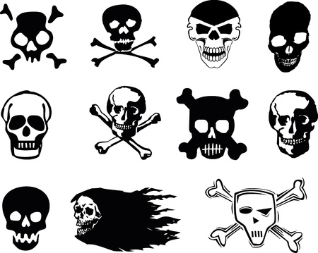 Black skulls on white background photo