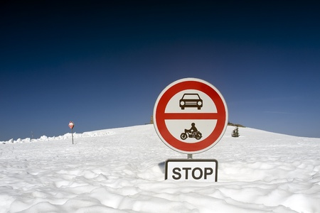 traffic sing stop with snow background photo