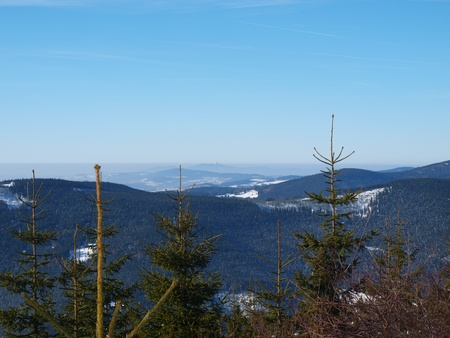 Winter panorama of Krkonose mountains, Czech Republic photo