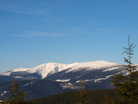 Winter panorama of Krkonose mountains, Czech Republic Stock Photo - 13457029