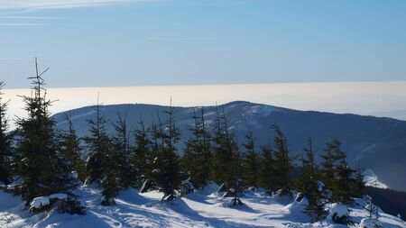 sudeten: Winter panorama of Krkonose mountains, Czech Republic
