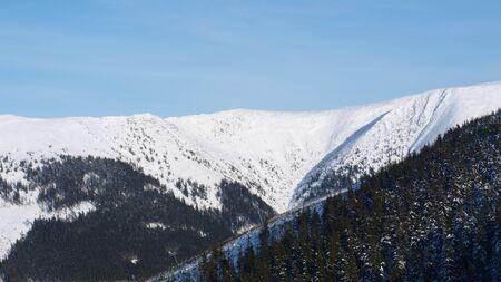 Winter panorama of Krkonose mountains, Czech Republic photo