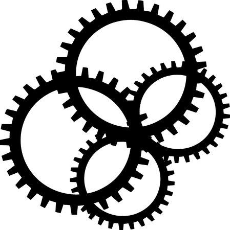 Black sprocket on white background photo