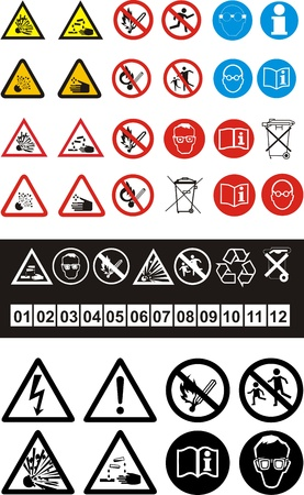 substances: Set of safety symbols on white background