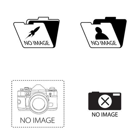 no image  icon set on white background
