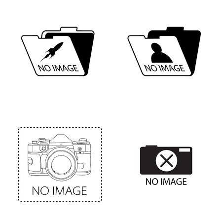 no image  icon set on white background