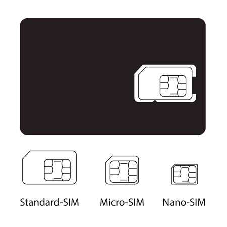 Sim card collection on white background photo