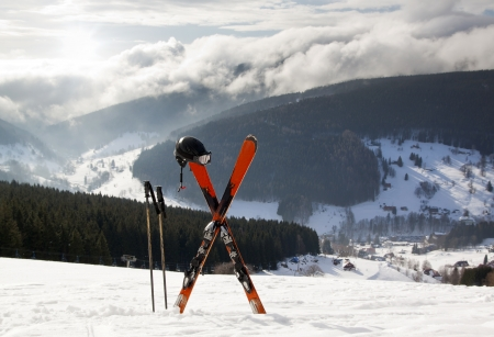 Pair of cross skis in snow, Czech High Mountains Stock Photo