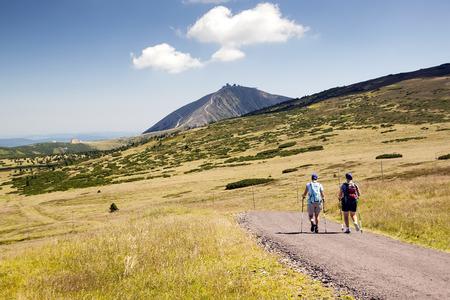 krkonose: Tourists walking on trip, Czech mountains Krkonose