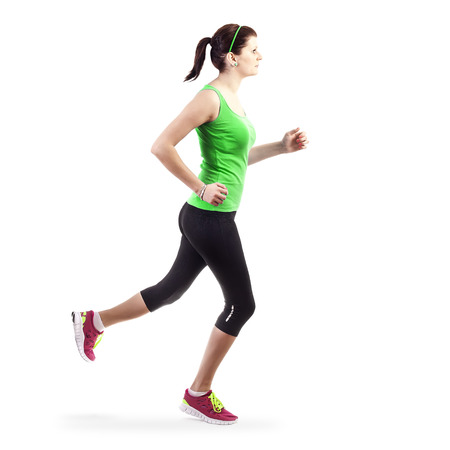 Running woman over white background Stock Photo