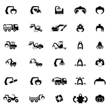 maquinaria pesada: Vector icono conjunto de la máquina pesada, tractor, excavadora y vehículos