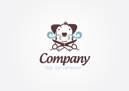 pet services: Design coDesign concept for pet barber shop or hairdresser. Vector logo template.ncept for pet barber shop or hairdresser. Vector logo template. Stock Photo