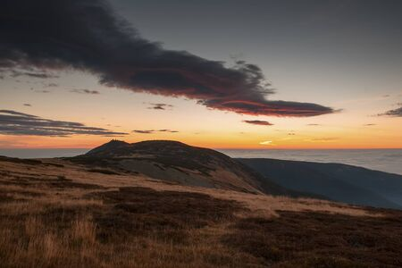 Beautiful morning sunrise in czech mountain krkonose, snezka