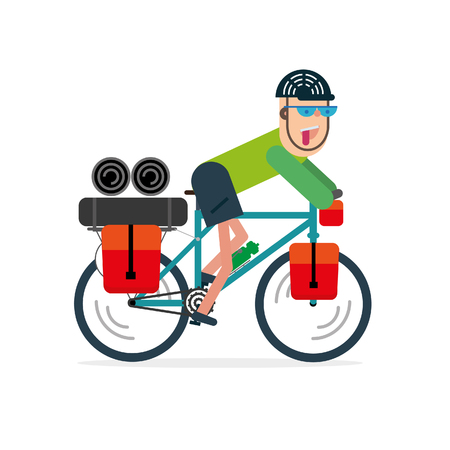 illustration of bike with bikepacking bags. Flat style design.