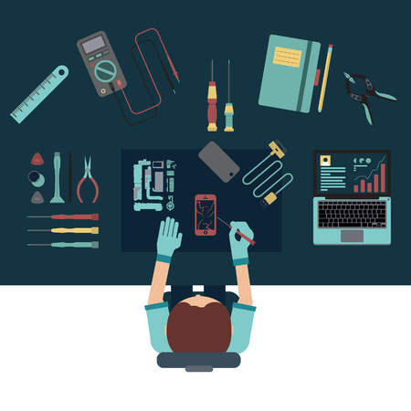 Phone service and repair center concepts. Top view. Flat design vector illustration. Stock Photo