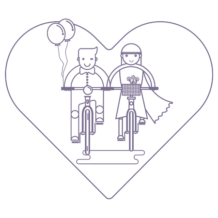 Couple in love riding together on bike, Wedding concept