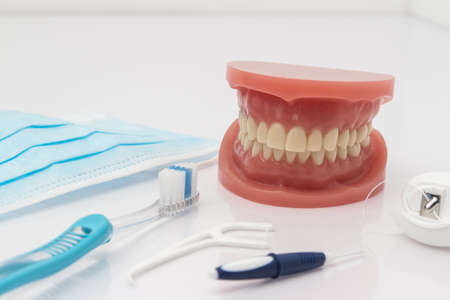 flossing: Set of false teeth with dental cleaning tools including a toothbrush, dental floss, disposable face mask and plastic flossing tool in an oral hygiene concept