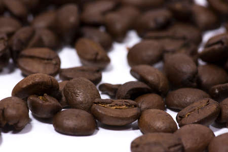 Java coffee beans against a white background