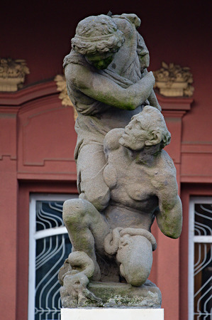 Prague, Czech Republic - March 15, 2015, before the entrance Lapidary Praha copy of the statue of Archangel in the fight with the devil, according to the original Jan Jiri Bendl from 1650.