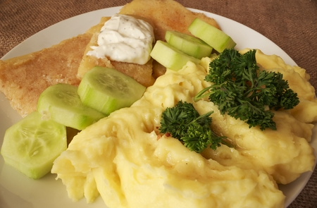 mashed potatoes fried cheese tartar sauce detail Reklamní fotografie - 45280595