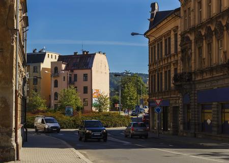 kruhový objezd na ulici v Praze Reklamní fotografie