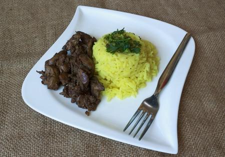 Kuřecí játra rýže s kari