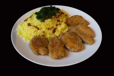 smažené plátky sójové a rýže kari Reklamní fotografie