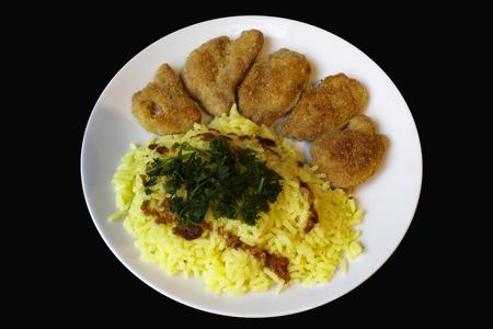 smažené plátky sojového a rýže kari pohledu