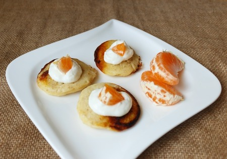 pancakes with cottage cheese and mandarin view