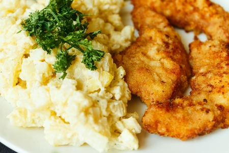 schnitzel and egg salad detail