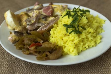 pečené kuře s výhledem na rýžové