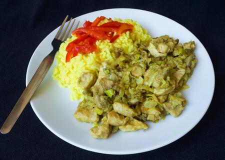 Čína vepřové maso a kari rýží