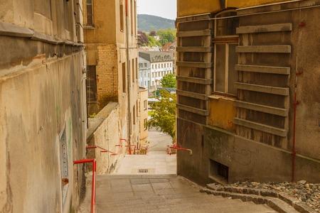 Jir? Skov? schody z ulice na autobusovém nádraží Eurocentrum Reklamní fotografie - 59641751
