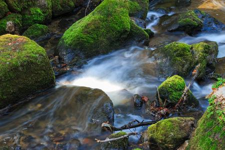 Voda tekoucí po skalách - Česká republika Reklamní fotografie