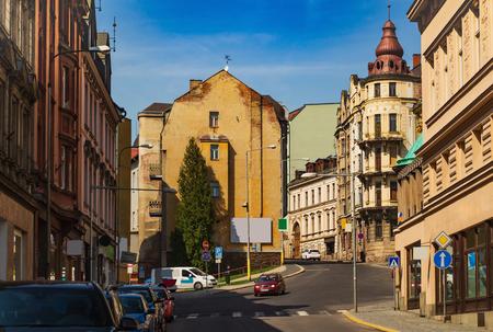 View of the streets of Podhorska and Smetanova, Jablonec nad Nisou, Czech Republic Reklamní fotografie