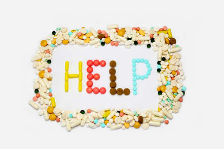 neurosis: Lot of pills and drugs. Stock Photo